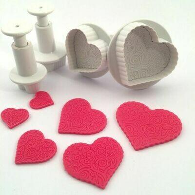 Dekofee Plungers Patterned Hearts set/4