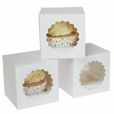 House of Marie Cupcake Box 1 -White- Pkg/3
