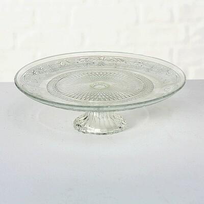 Tortenplatte Relief, Klarglas,