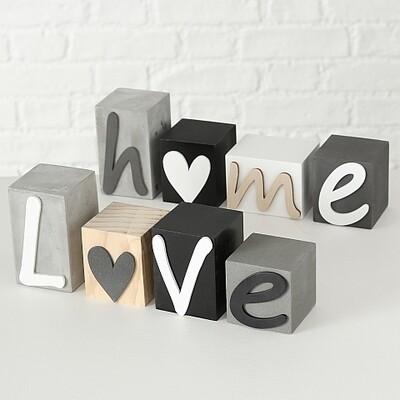 Schriftzug Home/Love, 4 tlg.,