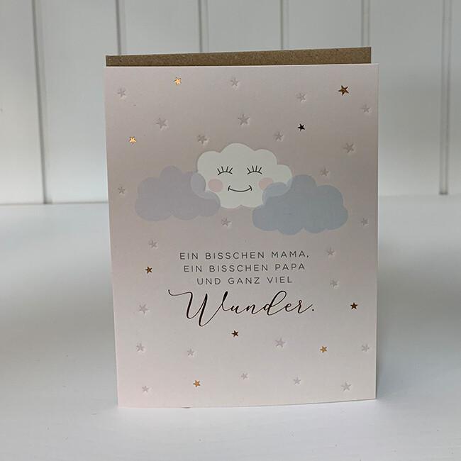 Doppelpostkarte: Ein bisschen Mama, ein bisschen Papa und ganz viel Wunder