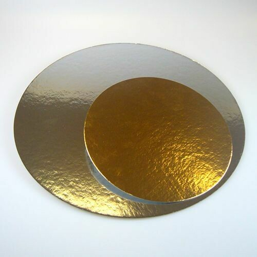 FunCakes Kartonunterlagen Silber/Gold - Rund - 20cm pk/3