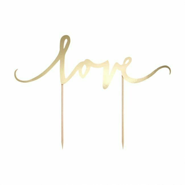 PartyDeco Cake Topper Love - Gold