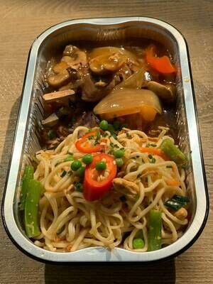 Runderhaaspuntjes op spies-terriyaki saus en Chinese bami 500 gram