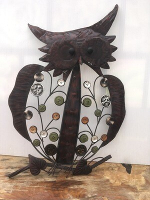 Metal Button Owl Figurine