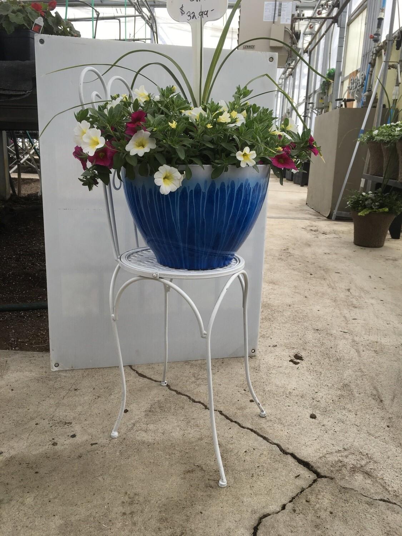 Ornate White Metal Chair Planter Holder