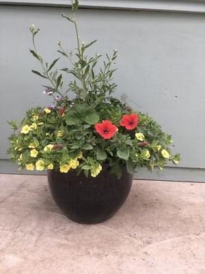 """15"""" Gold Speckled Black Planter Pot"""