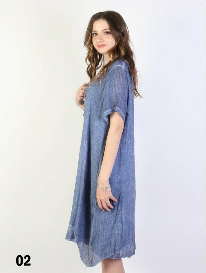Layered Shift Dress (washed denim)