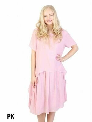 Layered Shift Dress (pink)