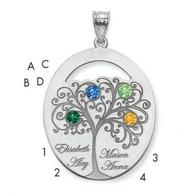 Sterling Silver 4 Stone Family Tree Pendant