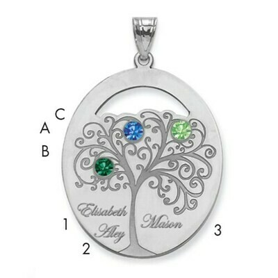 Sterling Silver 3 Stone Family Pendant