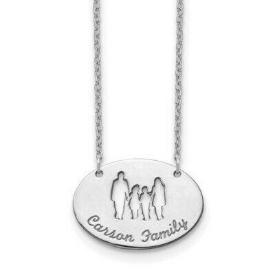 Sterling Silver Silhouette Family Pendant
