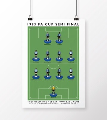Sheffield Wednesday 1993 FA Cup Semi Final Poster
