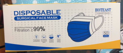 HotEast Disposable Surgical Mask, 50 pc / box, MOQ 2,000 pc