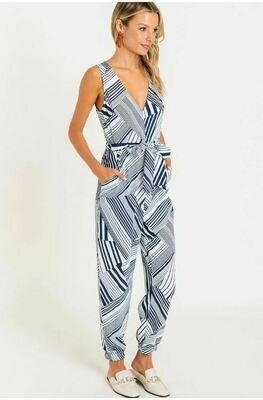 Striped Tapered Jumpsuit