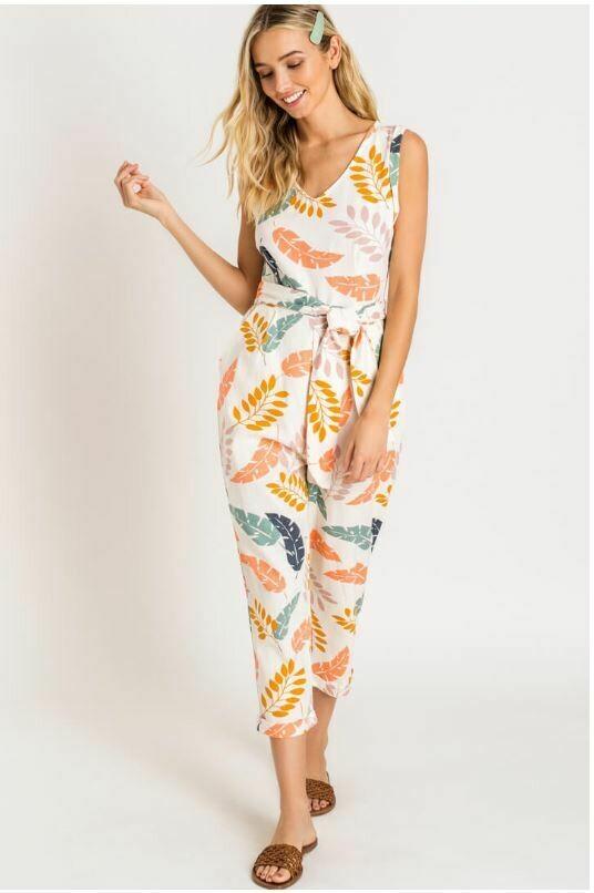 Tropical Linen Jumpsuit