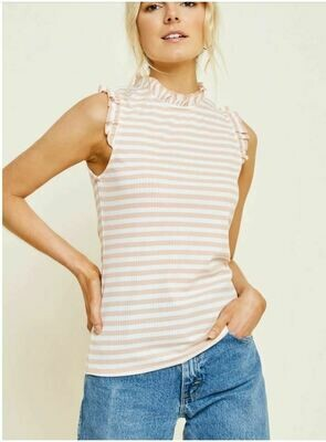 Stripe Ruffle Mock Neck Top
