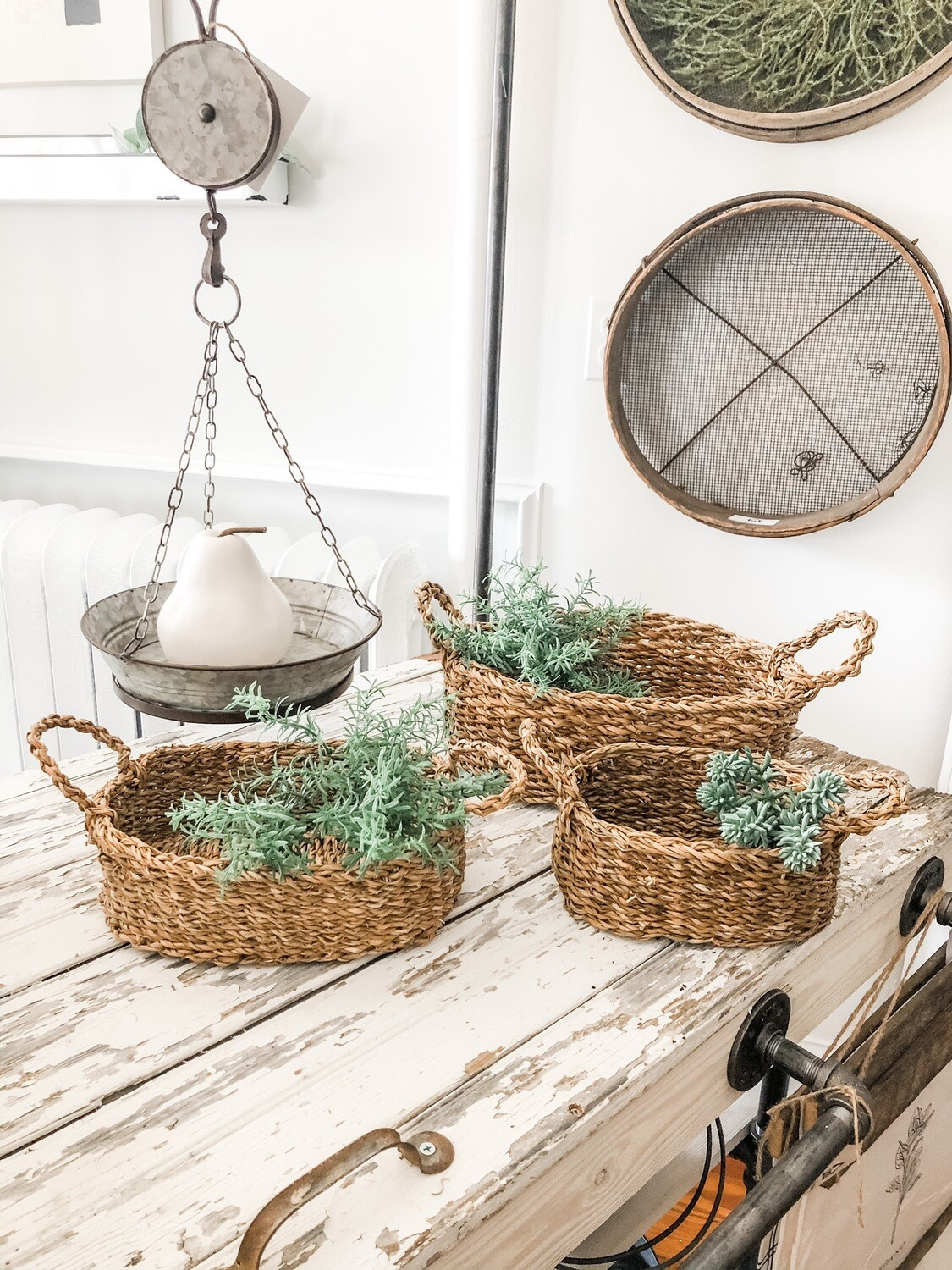Oval Seagrass Baskets-set of 3