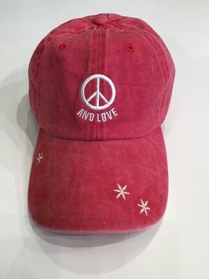 Peace and love baseball cap