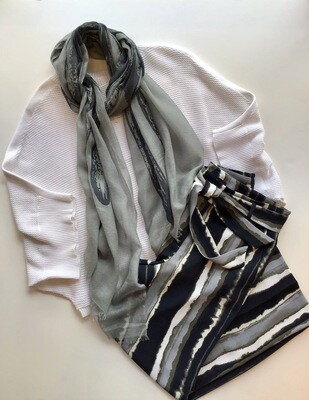 Cotton cashmere mesh dolman sweater