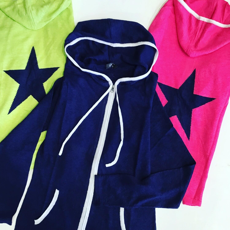 Linen zip hoodie with star