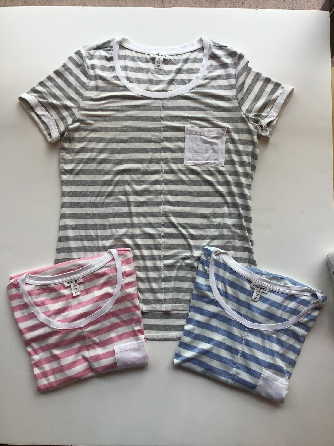 S/S stripe pocket tee