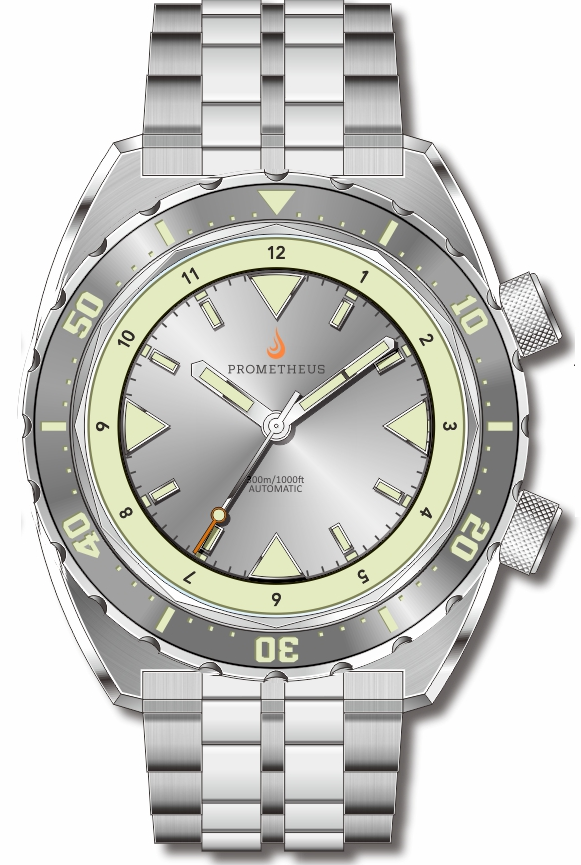 Pre-Order Prometheus Eagle Ray Version 5C.1 ETA 2824 Silver Dial No Date C3X1 Superluminova