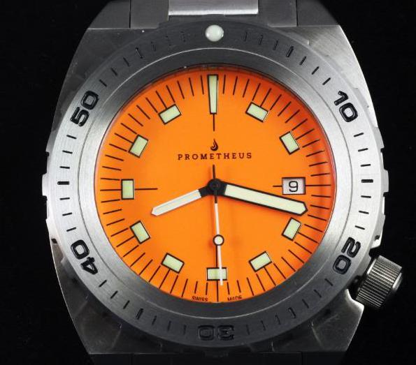 Swiss Made Prometheus Manta Ray Men's Diver Watch Orange Dial 1D