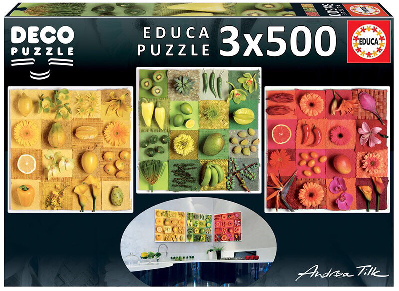 PUZZLE 3x500PCS FRUTOS & FLORES - EDUCA