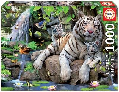 PUZZLE 1000PCS Tigres Brancos de Bengala - EDUCA