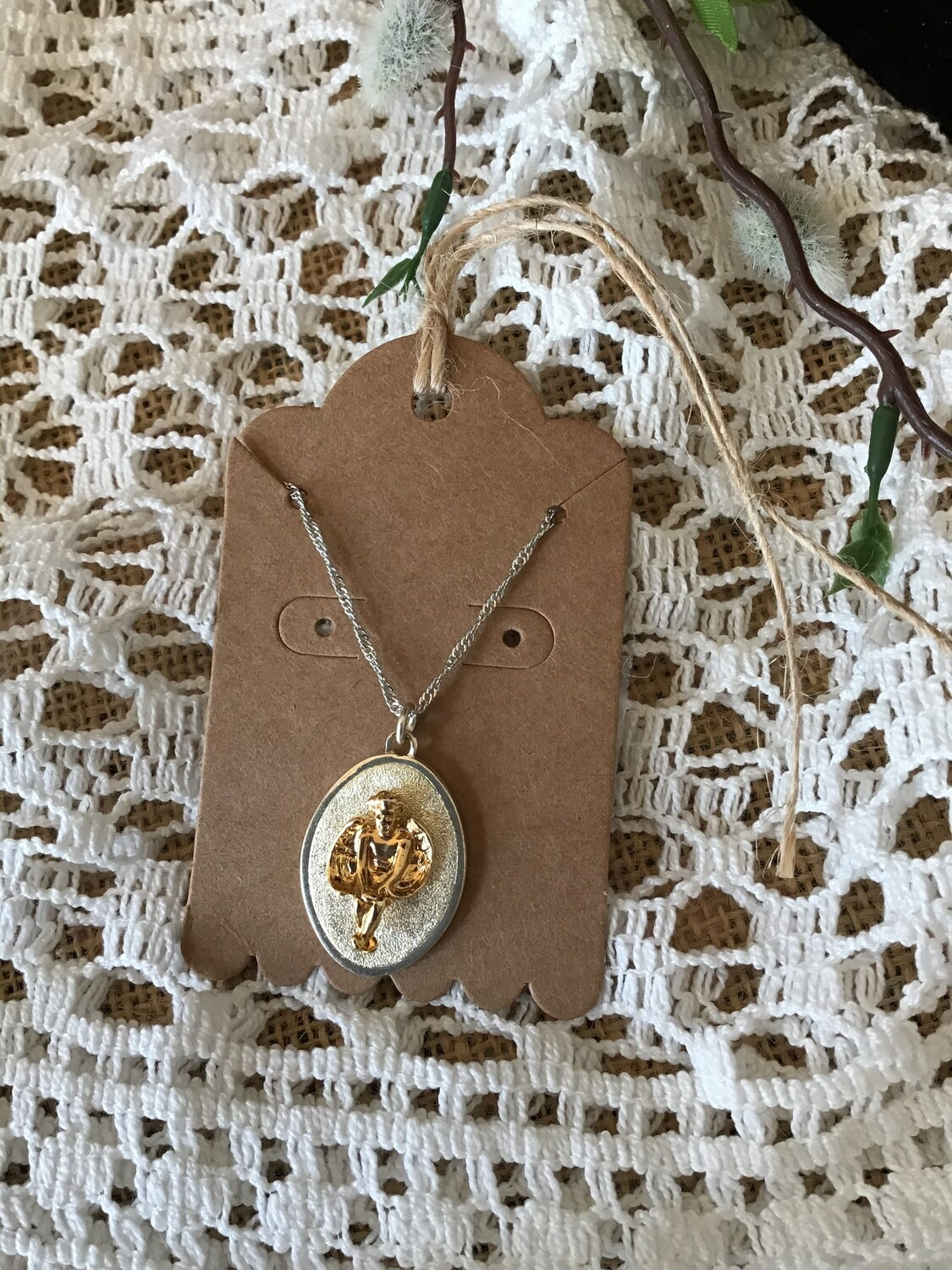 Medallion With Angel Necklace