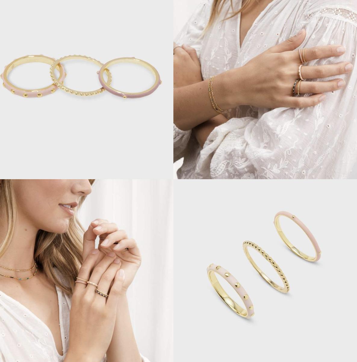 Amalfi Ring Set - Gold & Blush