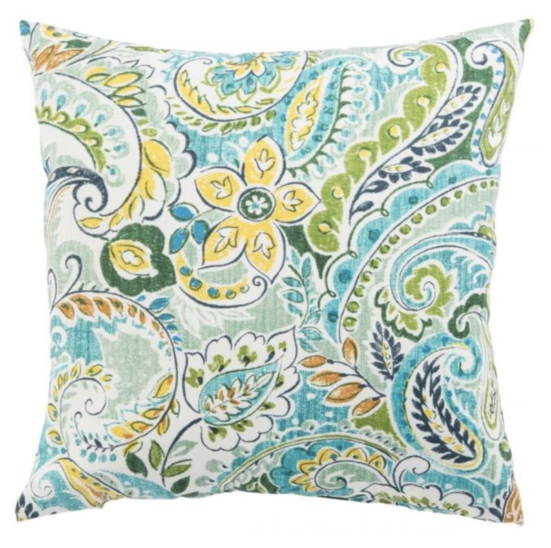 Veranda Aqua Floral Pillow