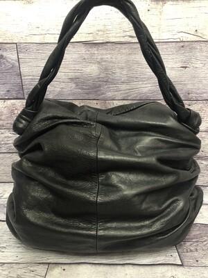 SABINA NY Black Leather X-Large Shoulder Handbag