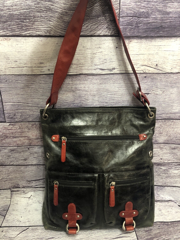 YL New York London Black/Red Distressed Leather Handbag