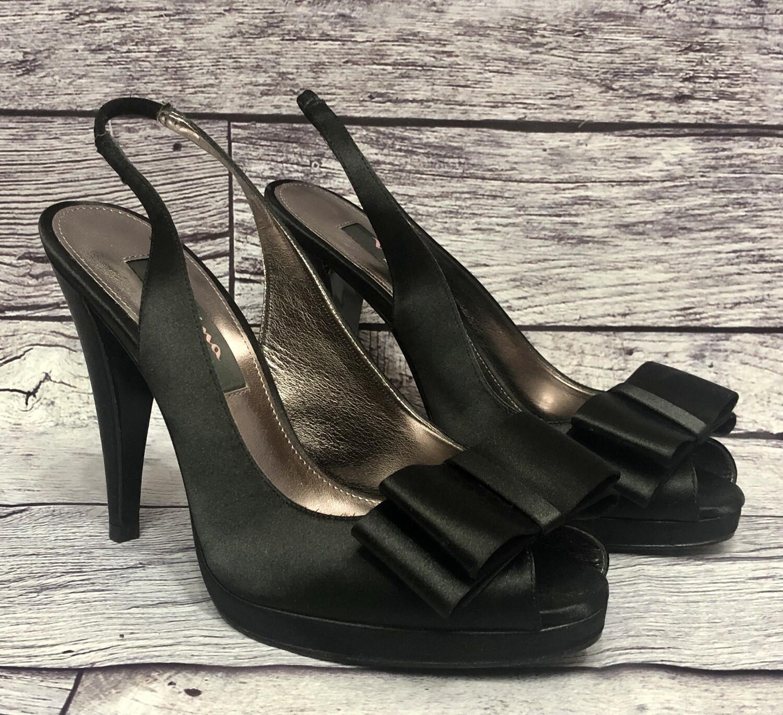 NINA Black Satin Bow Sling Back Heels size 6 1/2 M