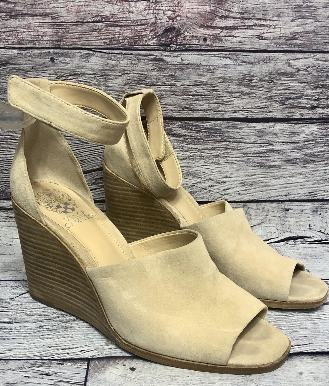 "VINCE CAMUTO ""Deedriana"" Cream Suede Ankle Strap Wedge Heels 9 1/2"