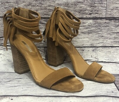 BCBGeneration Tan Suede Fringe Ankle Strap Sandal Heels size 7