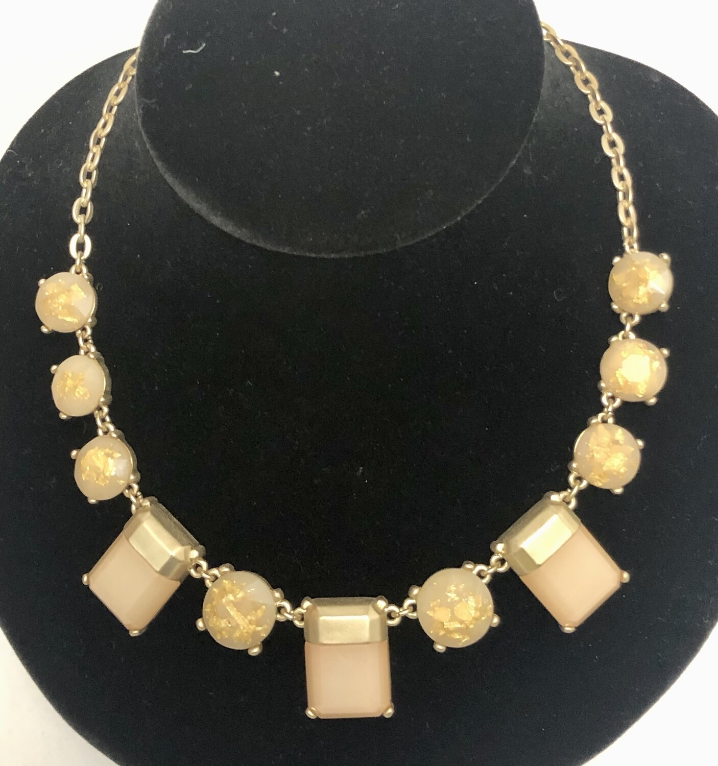 Ann Taylor LOFT Brushed Gold Stone Statement Necklace