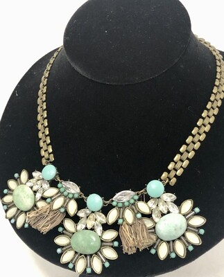 Aqua Green Floral Statement Necklace
