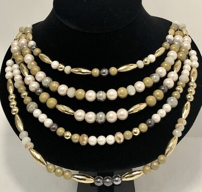 JULES B. Beautiful Multi Strand Pearl& Bead Necklace