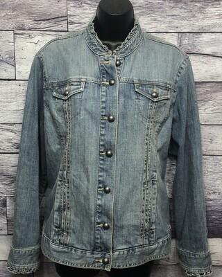 CHICOS Platinum Denim Jacket Size 2 (size L/12)