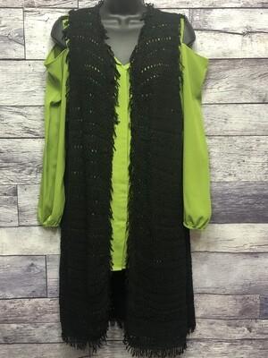 CHICOS Long Black Knit Vest w/ Fringe Trim Size 1 (M/8)