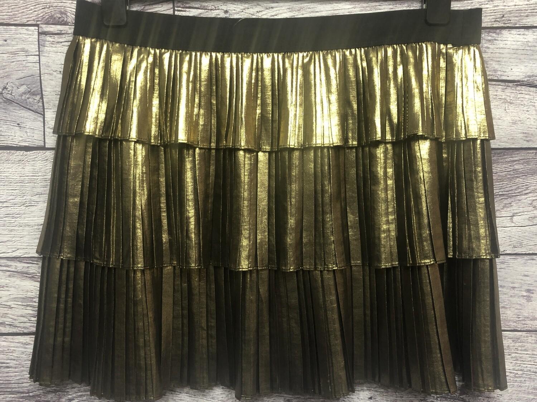 "BCBG ""Zana"" Acordian Pleat Metallic Mini Skirt Size Large"