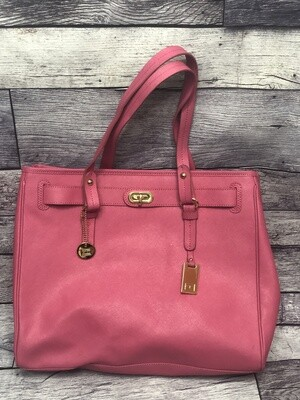 TOMMY HILFIGER Pink Staffiano Leather Large Tote Bag