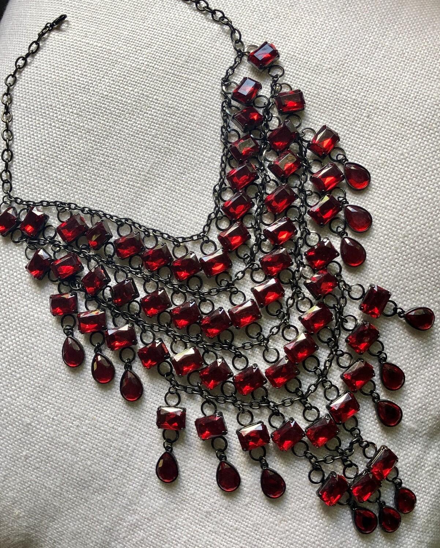 Scarlet Red Multi Tier Rhinestone Necklace