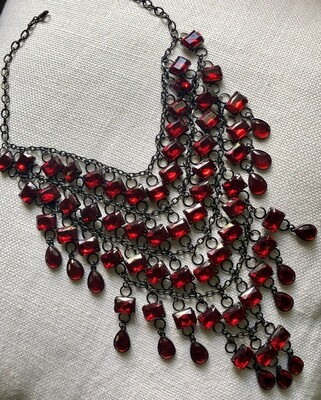 Scarlet Red Multi Tier Rhinestone Necklace