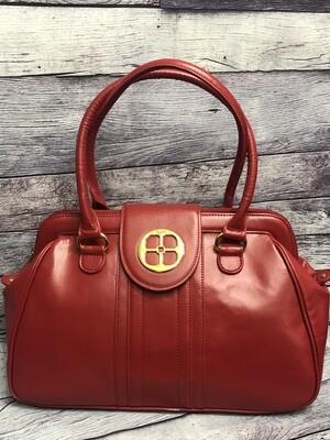 IMAN Large Red Leather Satchel Handbag
