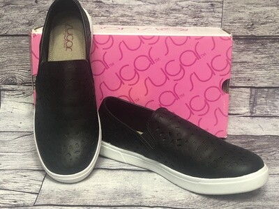 SUGAR Black Perforated Design Slip-in Shoes Size 9