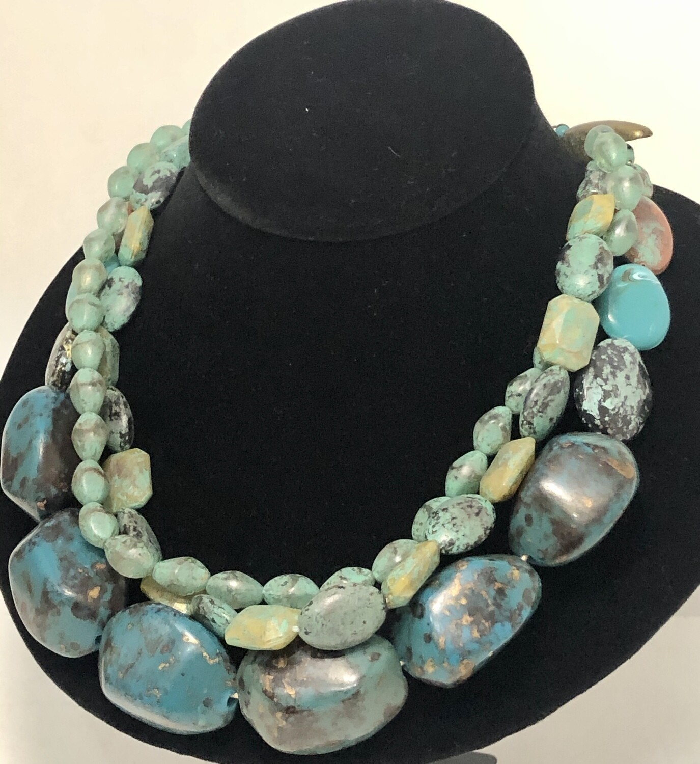 Turquoise Inspired Triple Strand Beaded Necklace